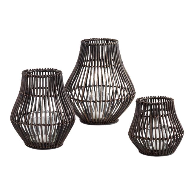 Dark Brown Rattan Lanterns (3)