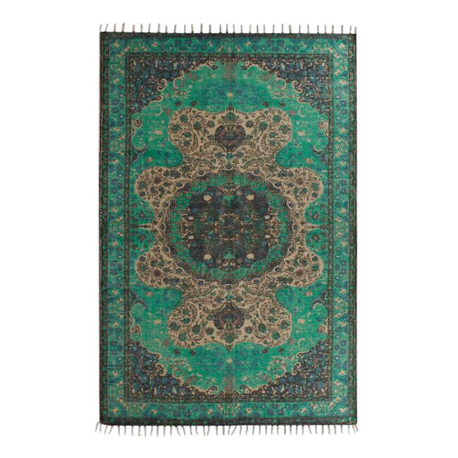 Emerald Green Boho Rug  5x7