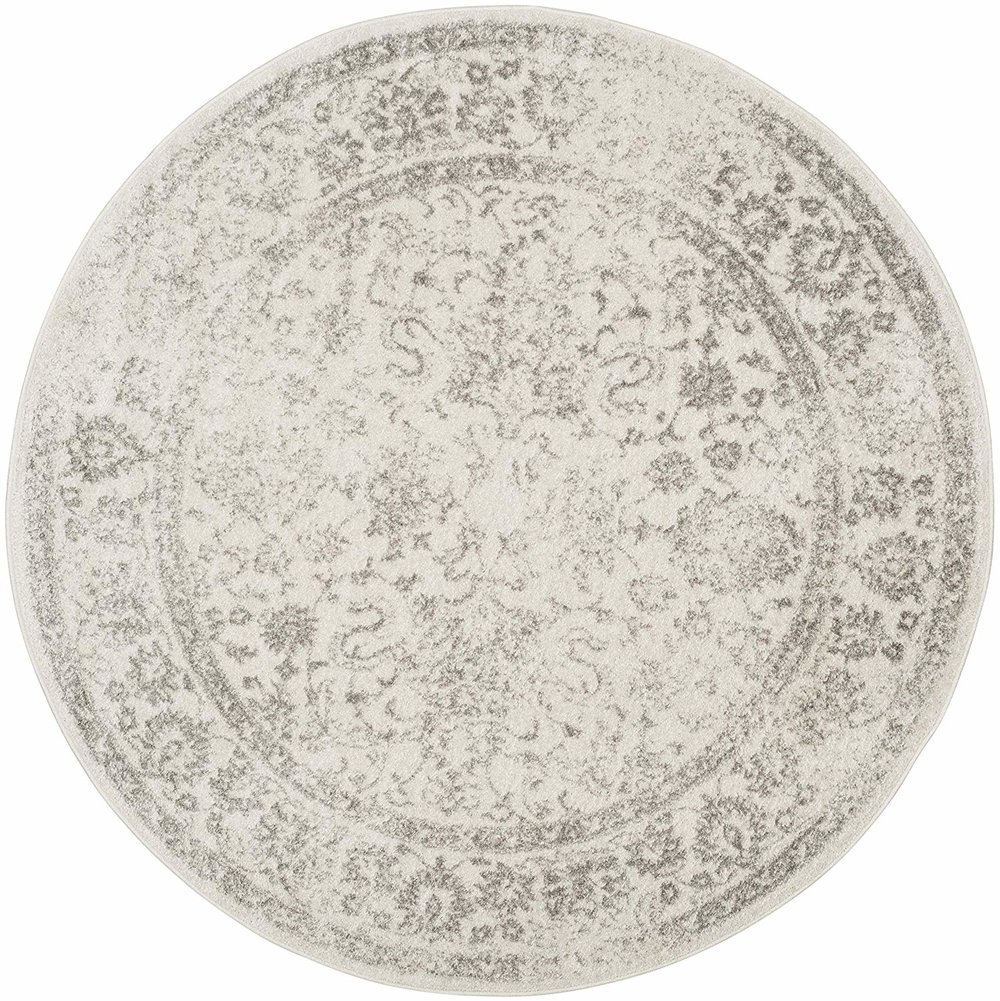 Distressed Silver Rug-Round    4 ft. wide