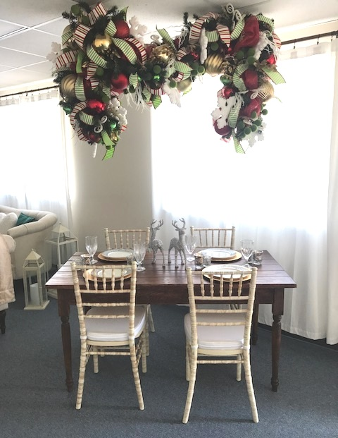 M for Martha, hanging over our Sweetheart table with distressed chiavari chairs