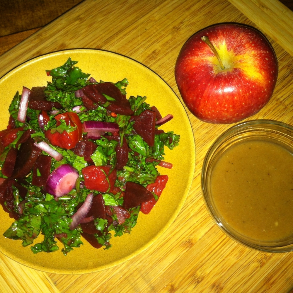 "Dreena's healthful, no-oil ""Magical""Applesauce Vinaigrette is sweet, bold and acidic. Perfect for dressing my kale, beets and mustard green salad."