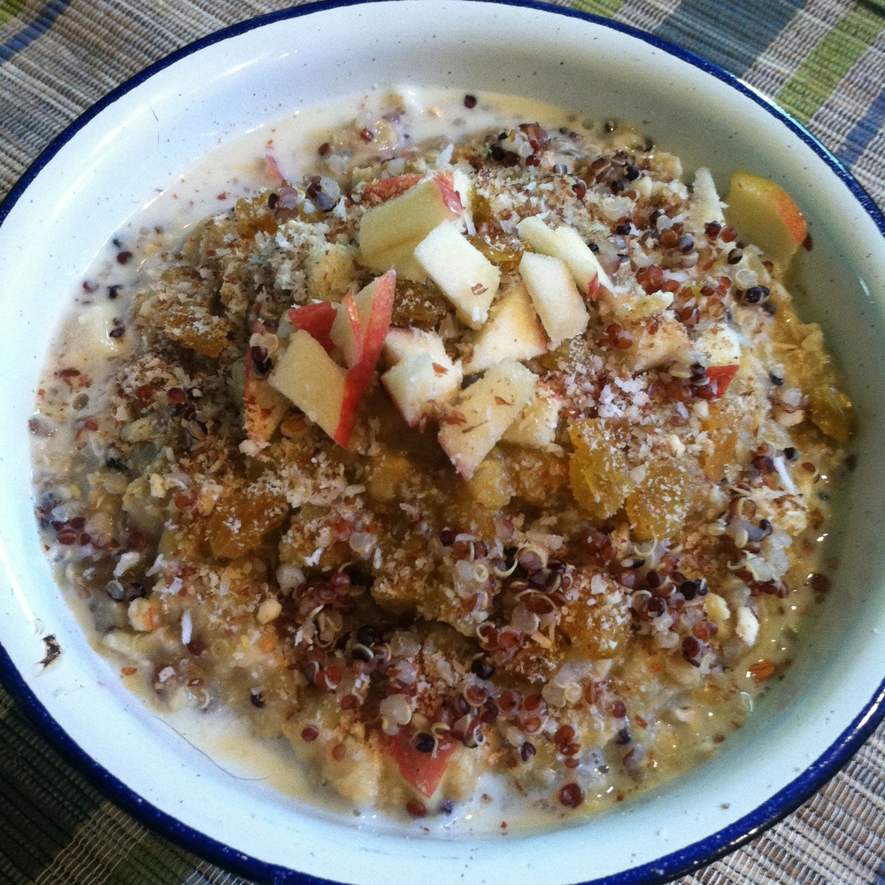 "My ""leftovers"" breakfast bowl: oatmeal, red quinoa, apples, raisins and Dreena's  Apple Lentil Dal!  Drizzle some maple syrup if you like it sweeter."