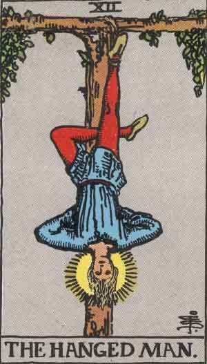 The Hanged Man card from the Rider-Waite tarot deck.