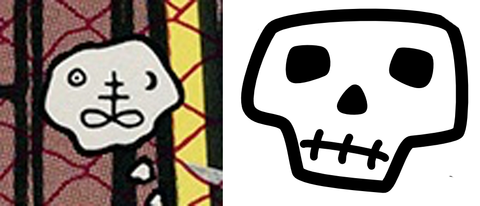 Thought bubble or abstract skull-ish face?