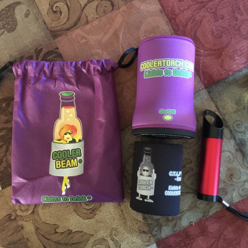 Drawstring bag, LED Koozie, Insert and bonus bottle opener LED flashlight.