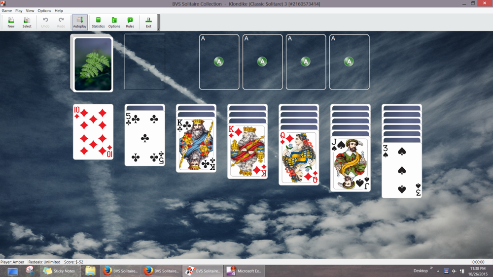 Cool! Solitaire customized with my own photography! Relaxing. :)