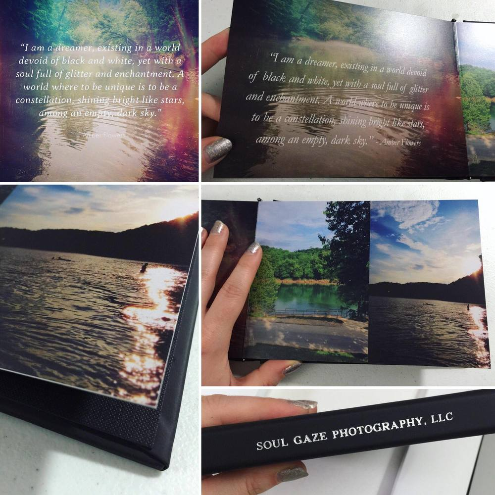 Lay-flat album, silver foil embossing, soft touch, vegan cover. Many sizes available. 5x7 shown.