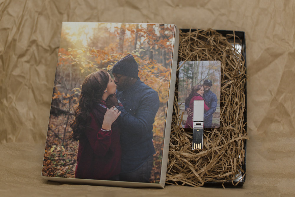 Customizable 5x7 or 8x10 print box and USB. Heirloom wooden box and premium USB coming soon!