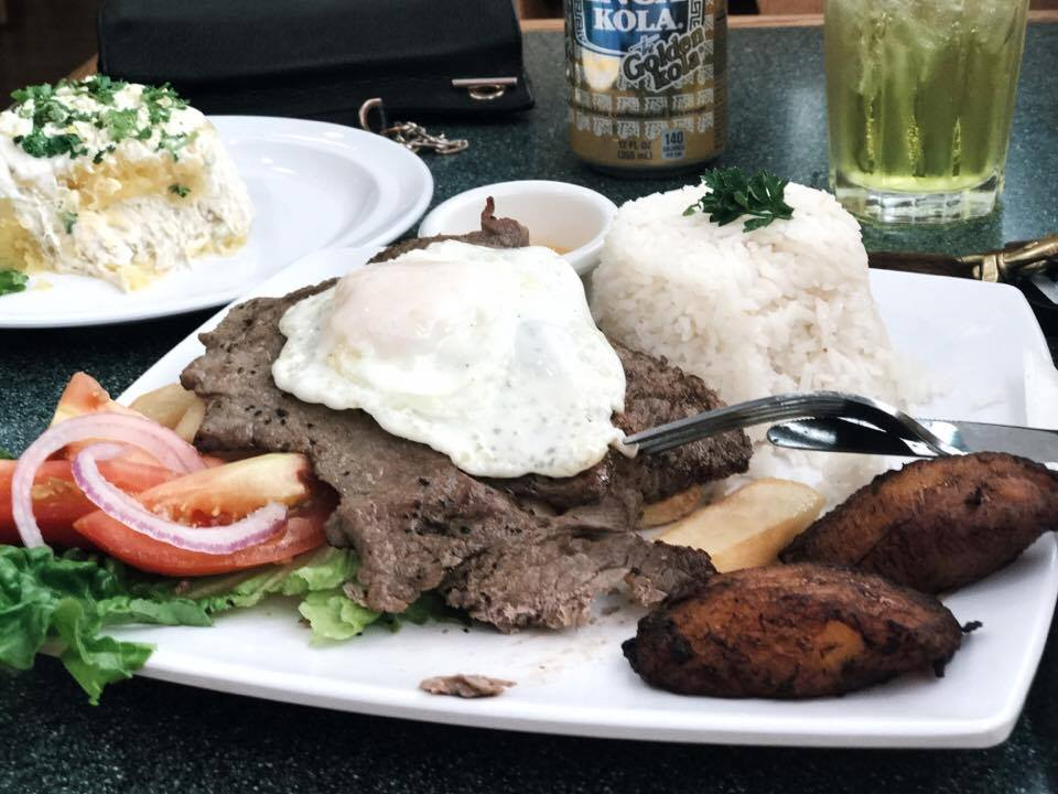 Bistec a lo Pobre | Steak w/ fried egg, rice, plantains, french fries, and salad