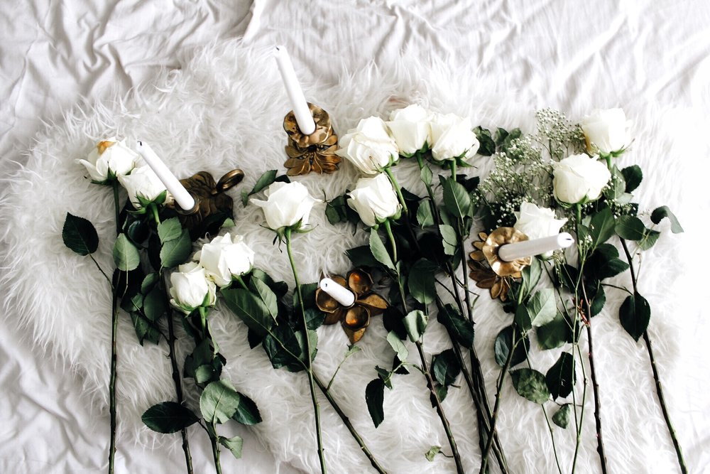 Forever white roses or peonies.
