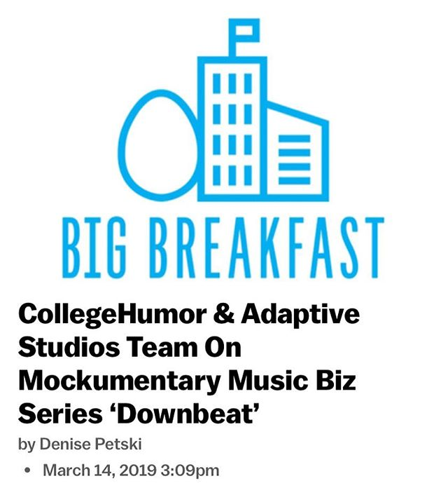 """We're so excited to have teamed up with @collegehumor and @adaptivestudios on our new mockumentary series """"Downbeat."""" Check it out on CollegeHumor's YouTube channel, premiering March 24th!! Link to article in our bio!"""