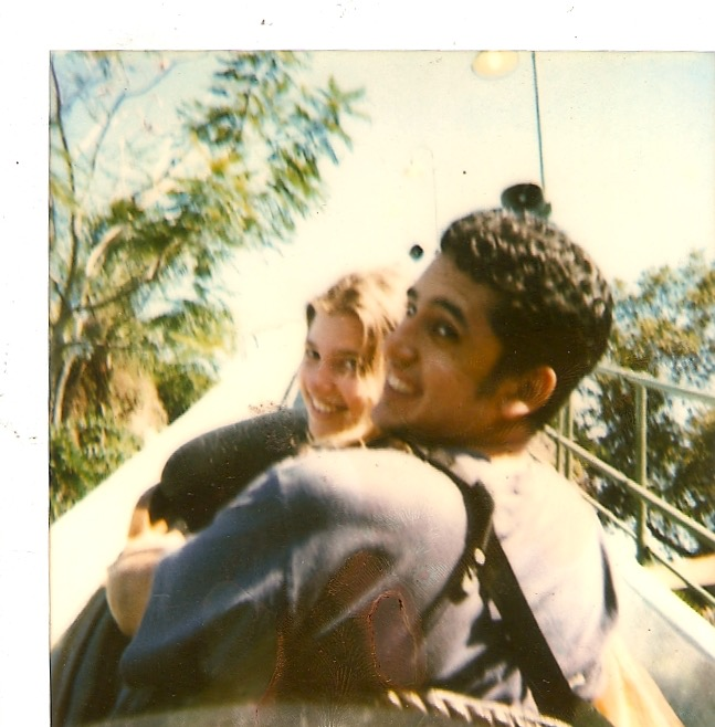The first photo we ever took together... on a rollercoaster.
