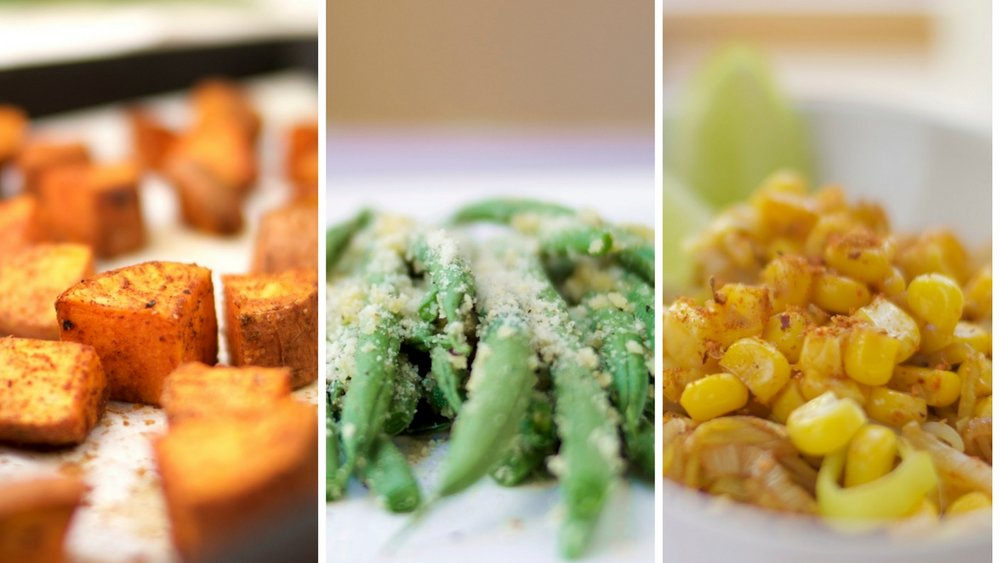 3 quick and easy vegan side dishes: Spiced up roasted sweet potatoes, garlicky almond green beans, Cajun and lime corn