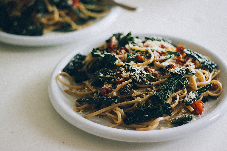 pasta w. kale and roasted tomato + veg parm 2 | plants on the plate.jpg