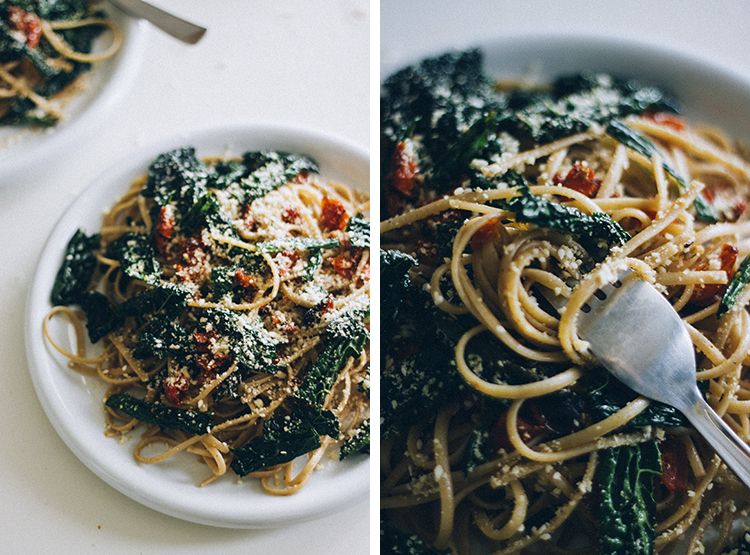 pasta w. kale and roasted tomato + veg parm 3 | plants on the plate.jpg