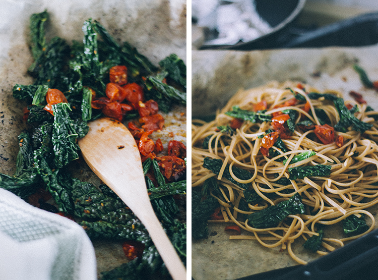 pasta w. kale and roasted tomato + veg parm 4 | plants on the plate.jpg