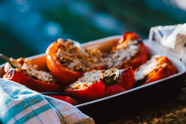 Roasted Peppers, Plants on the Plate