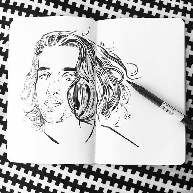 Hair envy & warm up sketch 💁🏼♂️- @rileyjohnsonmakeup . . . . #illustration #illustrator #illustratorsoninstagram #draw #drawing #portrait #portraiture #sketch #sketchbook #warmupdrawing #practice #ink #mujibrushpen #brushpen #brush #face