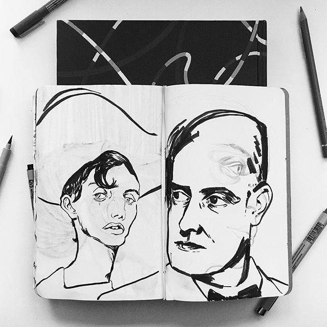 🤠+😒 . . . . . . #illustration #illustrator #illustratorsoninstagram #drawing #draw #sketch #sketchbook #quick #portrait #brushpen #pen #ink