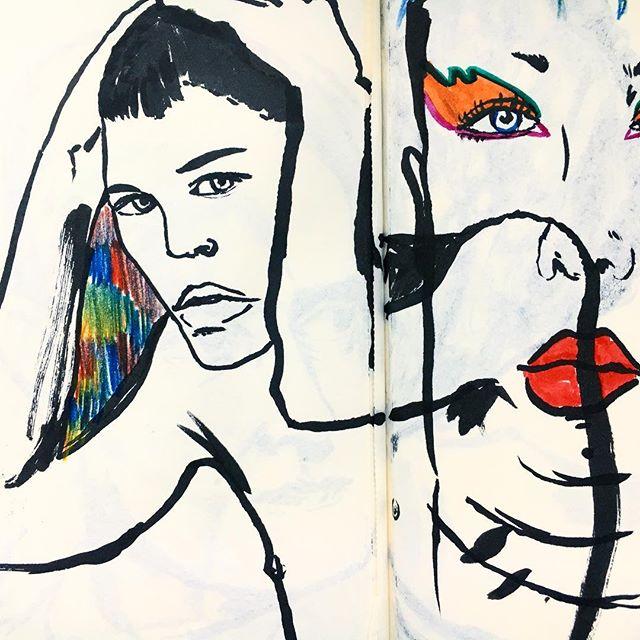 Brush pen, all day, everyday. Wobbly textured lines = best lines 🔥 . . . . . . . . . . #illustration #illustrator #illustratorsoninstagram #draw #drawing #brushpen #brush #pen #ink #pentelbrushpen #colourpencil #pencil #rough #quick #study #people #figure #figurative #people #portrait #portraitsketch