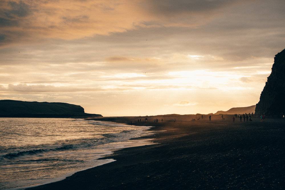 Reynisfjara Beach at sunset