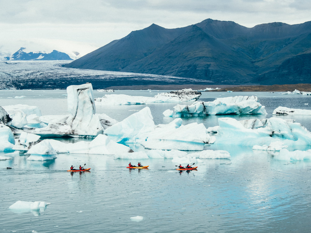 Kayaking in the glacier lagoon