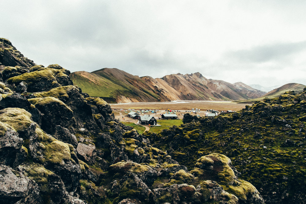 Landmannalaugar campsite from the Laugahraun lava fields
