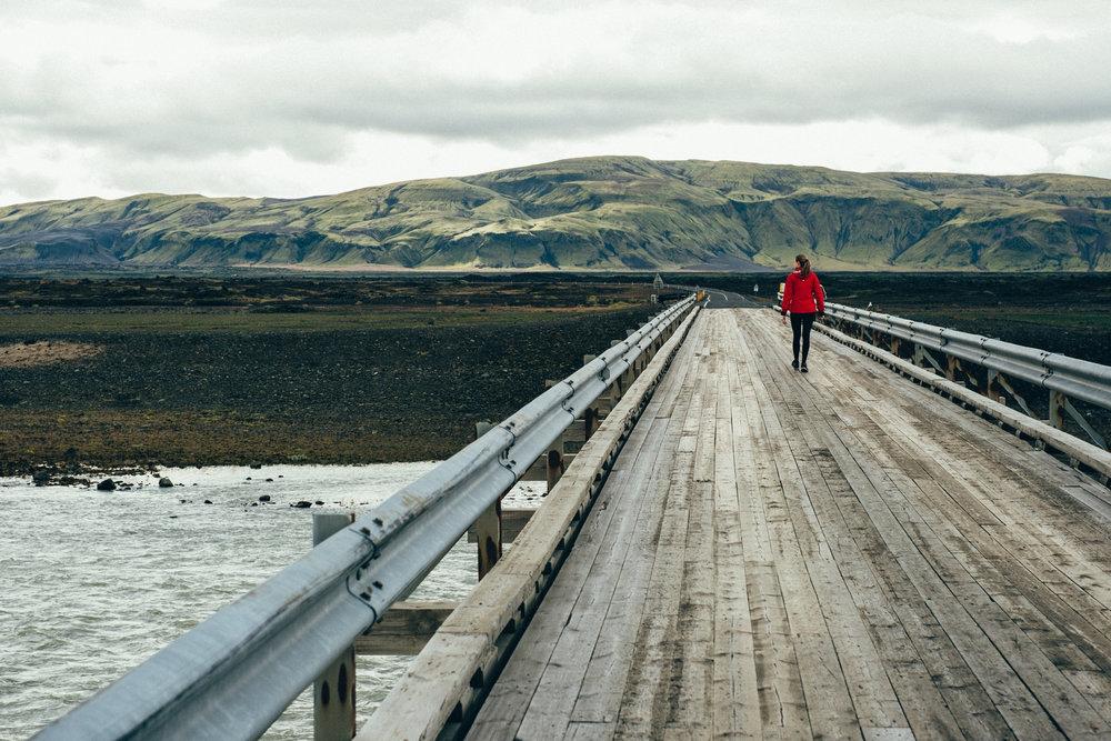 Bridge cross the river Þjórsá on route 32 heading towards the Highland Center