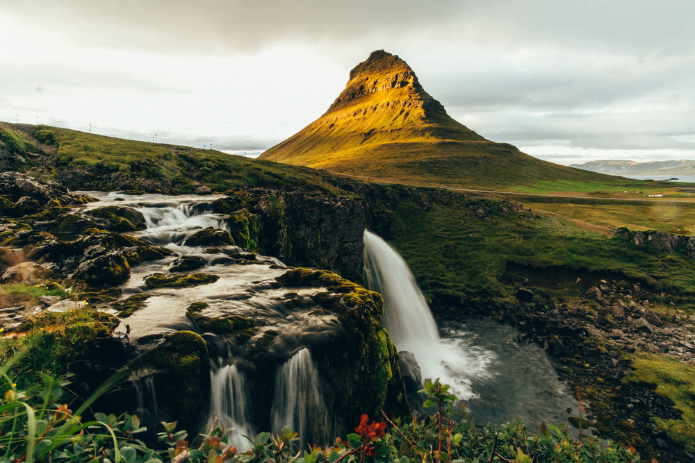 Kirkjufell and Kirkjufellsfoss at sunset