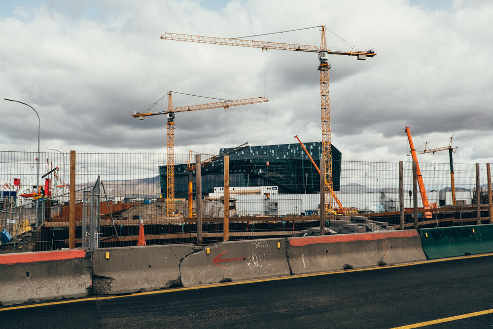 Construction is booming in Reykjavik, Harpa Concert Hall in the background
