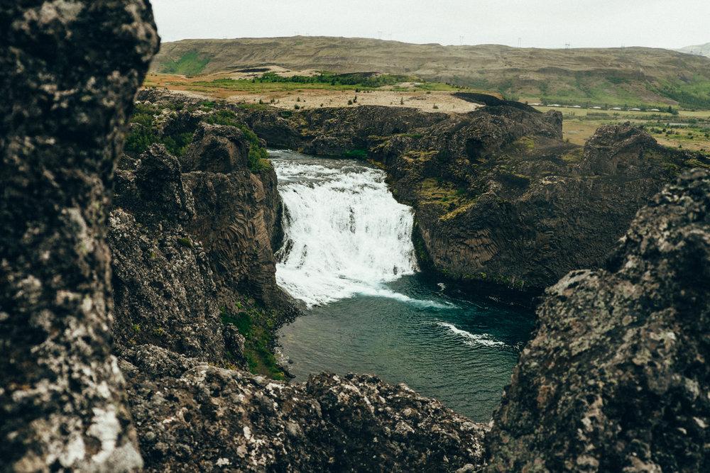 Downstream from the Gjáin Valley, the beautiful Hjálparfoss