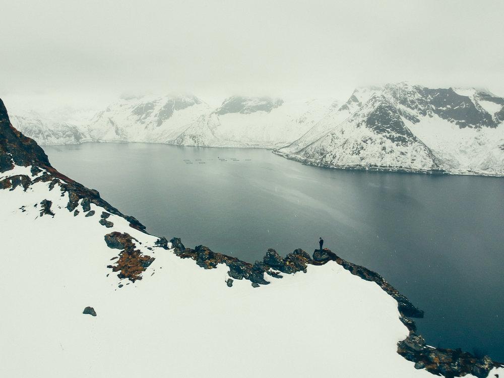 View from the ridge between Hesten and Segla towards the back of the Mefjorden