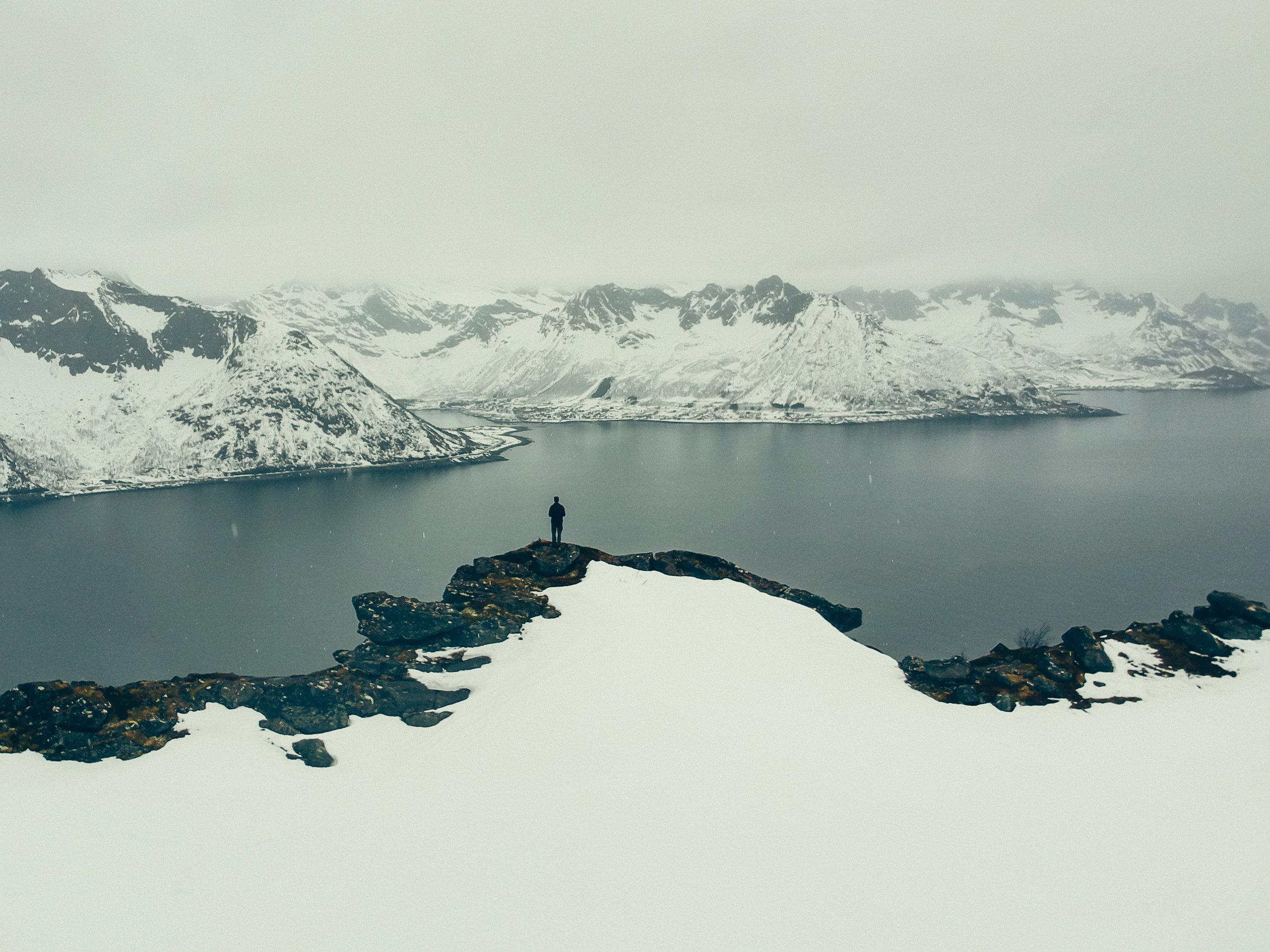 View of Senjahopen across the Mefjorden from the ridge between Hesten and Segla