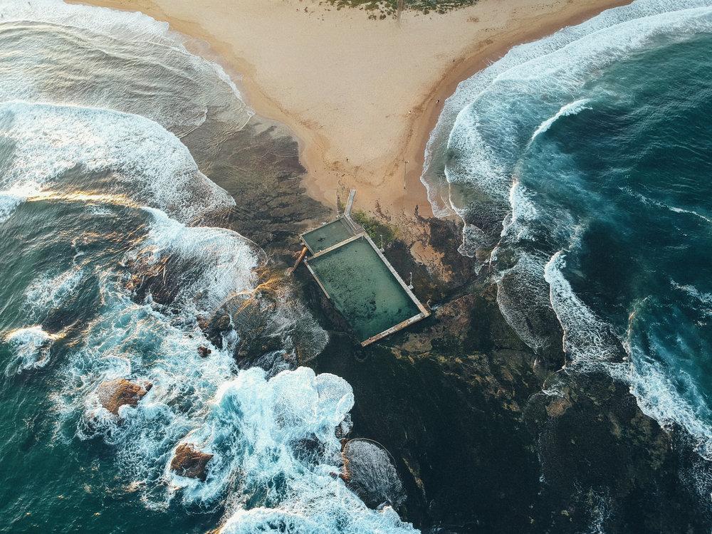 mona-vale-rockpool-beach-drone-shot