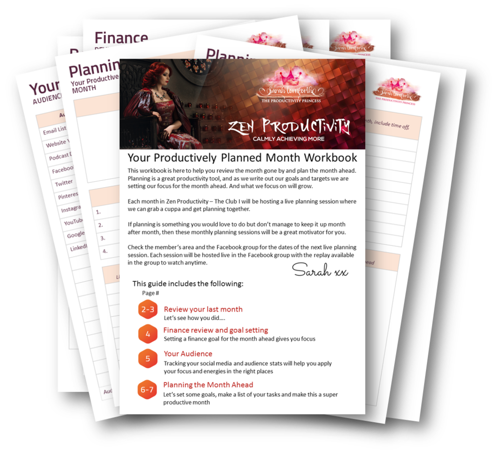 Zen productivity Planning Workbook - Plan your most productive month