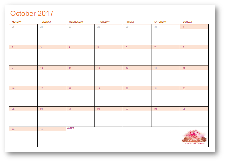 October 2017 Page to View Calendar