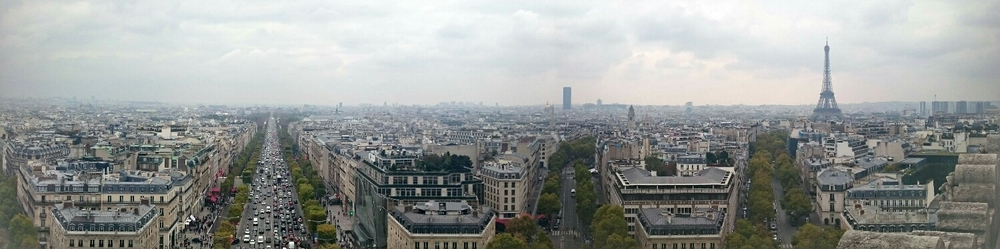 The view from the top of the Arc de Triumph