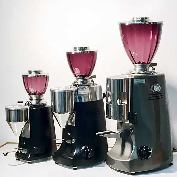Mazzer Mini E, Mazzer Kony E, Mazzer Royal - all with dark violet Glass Hopper