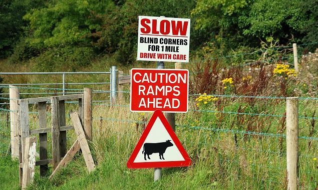 Image credit:Albert Bridge / Road signs near Downpatrick, from Wikimedia Commons