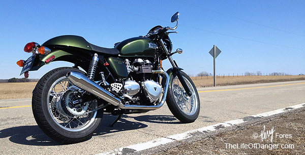 The opportunity to ride this Triumph Thruxton interrupted my spring motorcycle reserection.