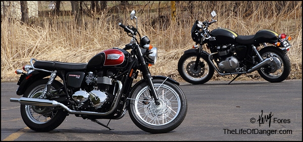 "The key players in this drama; Triumph Bonneville (aka ""Bonnie"") and Triumph Thruxton."