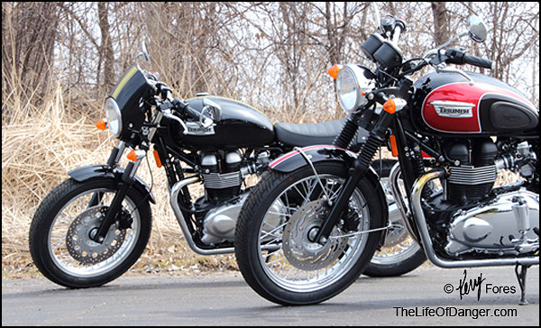 Cosmetic differences abound, but the Thruxton's dropped bars and set-back foot pegs are what change the riding style.