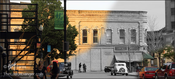 "This composite of two photos of downtown Oshkosh, Wisconsin, illustrates how the old bones of ""Main Street"" stoutly observe and adapt to a changing world. While these buildings have stood for over a century, a Walmart, built along the Hwy 41 corridor in the 1990s, relocated within 15 years and, after sitting empty and unsold for nearly a decade, the original Walmart building was torn down."