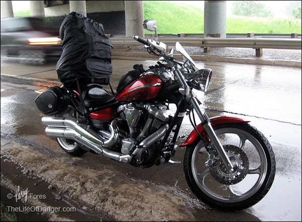 The Raider offers no protection from the rain. Here I paused under a bridge to wait out a lightning storm during a ride from Memphis.