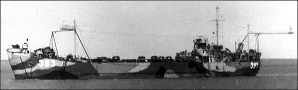 A wartime photo of  LST 393 , now preserved in Muskegon, Michigan.   Photo courtesy   USS LST 393 Veterans Museum