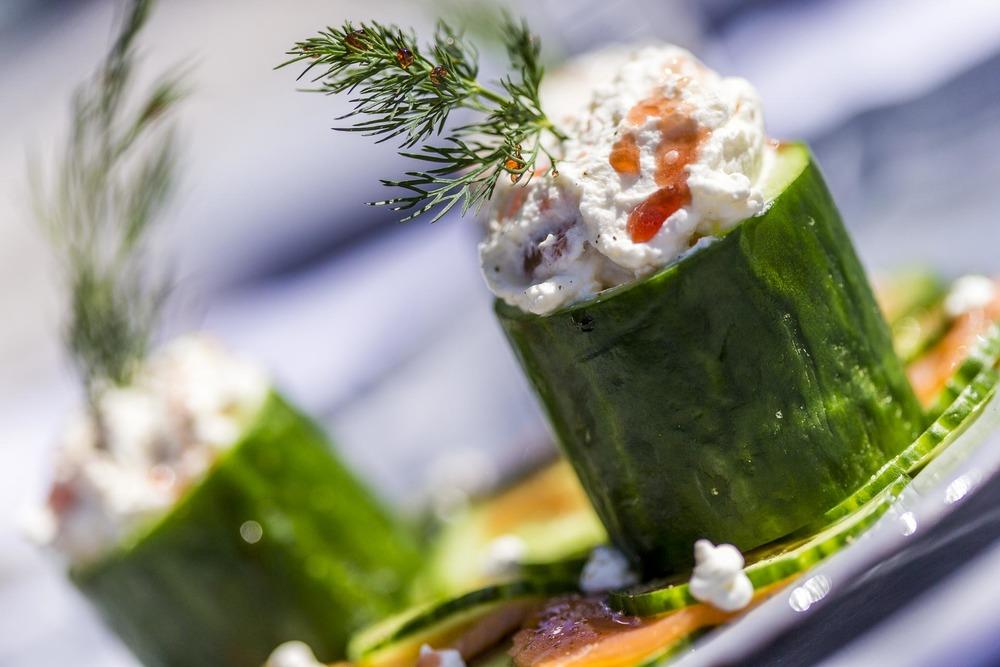 chantilly de saumon et cylindre de concombre