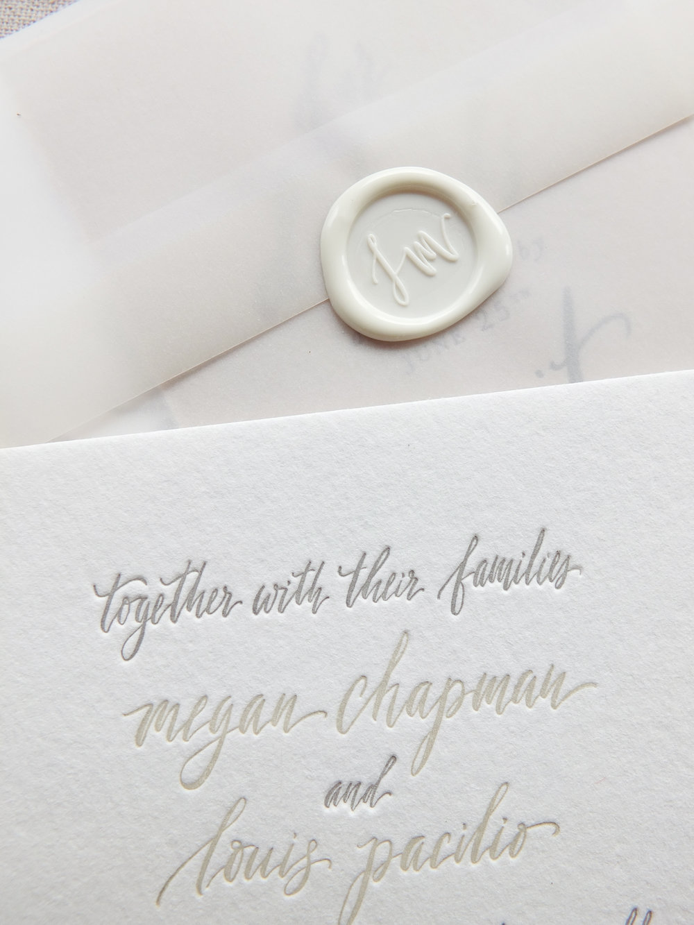 Handwritten invite and wax seal