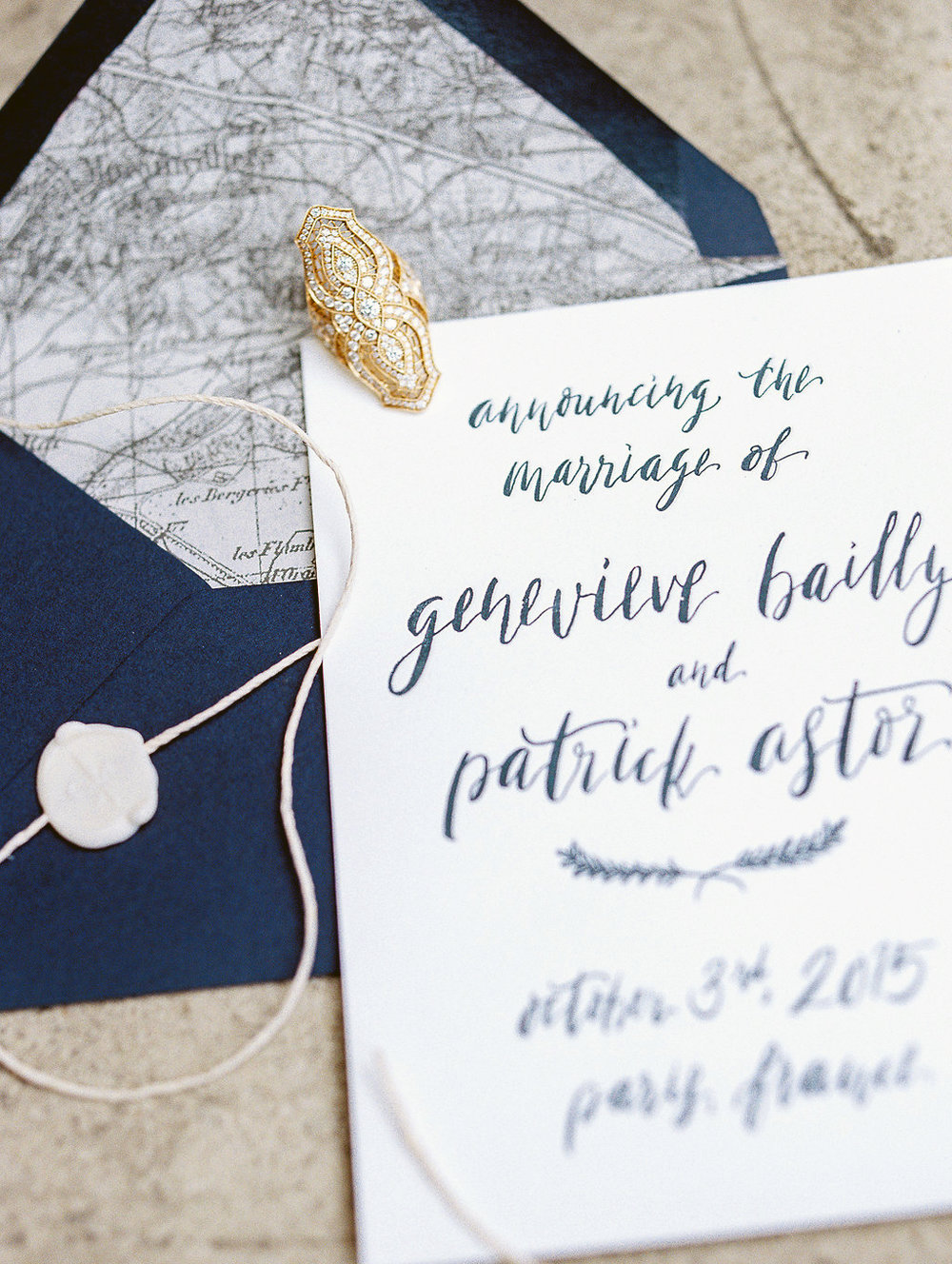 Handwritten marriage announcement with custom envelope liner