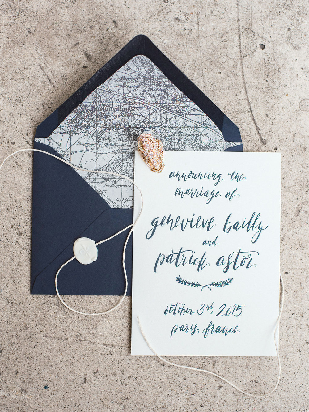 Handwritten marriage annoucement with custom envelope liner