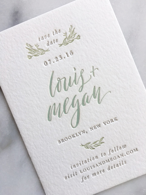 Three-color letterpress save the date with calligraphy